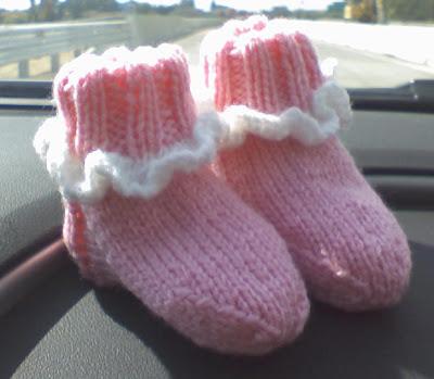 Wishing I Was Knitting At The Lake Ruffled Baby Socks Ver2