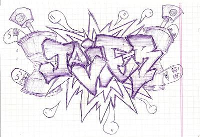 algo para mi blog y recordé que había inaugurado la sección graffitis o arte efímera y me decidí a realizar uno con mi nombre. Bueno sin más preámbulo