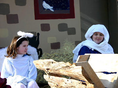 Cast members on the Journey To Bethlehem float in the Landis/China Grove Holiday Parade