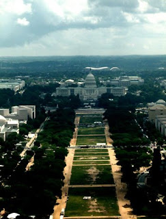The US Capitol Building and the Mall in Washington DC from the Washington Monument.