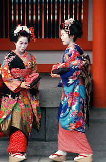 Two Japanese women in traditional clothing