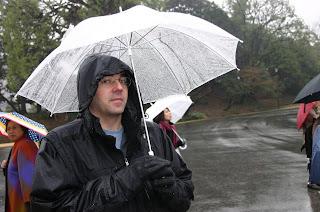 David P standing in the rain