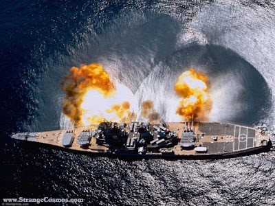 A full volley from a battleship