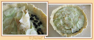 Pre-baked apple pie with green apples and raisins filling