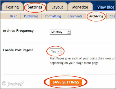 Screen shot of Blogger's settings to enable post pages