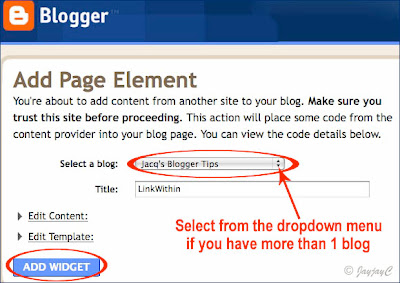 Screen shot of Blogger's Add Page Element window