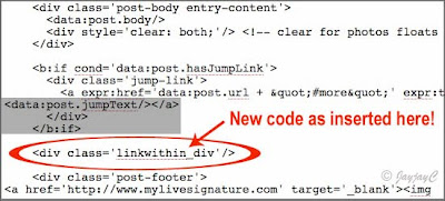 Screen shot of Blogger's Edit Template - step 3 on how to reposition LinkWithin widget