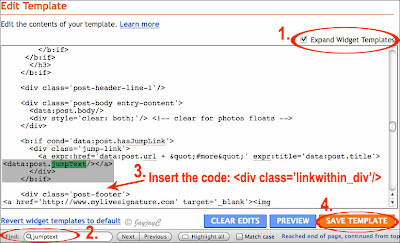 Screen shot of Blogger's Edit Template - how to modify the placement of LinkWithin widget