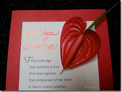 40th wedding anniversary greeting card that was received from a very special friend