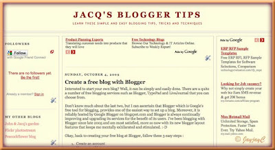 Screen shot of Jacq's Blogger Tips, converted to a 3-column minibox template