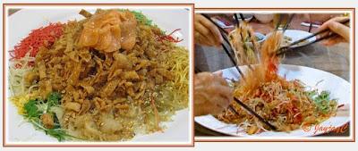 A dish of CNY Yee Sang with raw fish at Minmax Restaurant