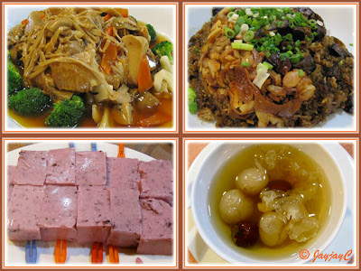 Food collage: Braised Mixed Vege, Fried Rice, Double-boiled Longan with corn+white fungus and CNY cold desert