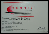Patient's Tecnis Intraocular Lens ID Card