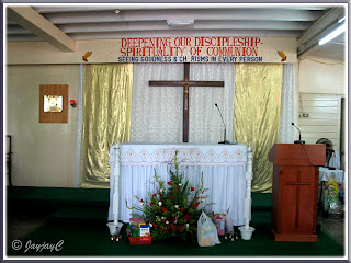 Altar and tabernacle, inside the Church of Our Lady of Fatima, Banting, Selangor