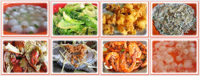 Collage of various food dishes for lunch at Ocen Seafood Restaurant, Tanjung Sepat
