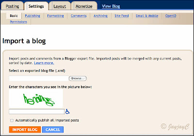 Screen shot on how-to import (restore) blog in Blogger - Step 2: import a blog