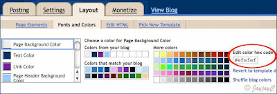 Screen shot of Blogger's layout: fonts and colors