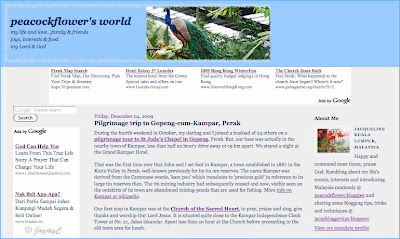 Screen shot of the newly created three-column Peacockflower Blog