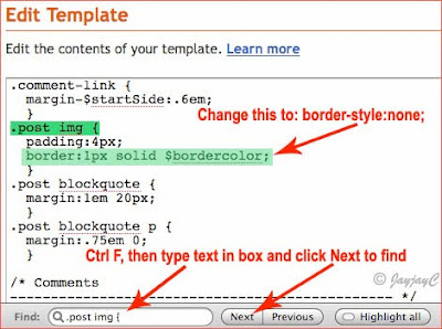 Screen shot of Blogger's Edit Template: to remove border around images