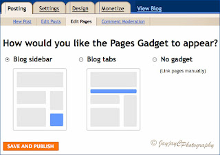 Screen shot on Blogger's Add Page List Gadget