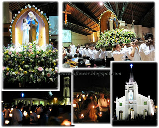 St Anne Feastday procession: statues of St Anne+Our Lady, palanquin bearers, Shrine of St Anne and pilgrims with lit candles