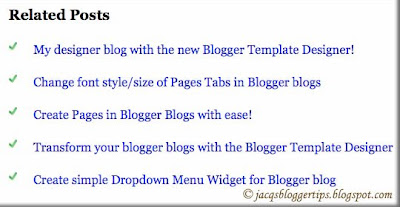 Screen shot of Related Posts Widget, authored by Aneesh of Blogger Plugins
