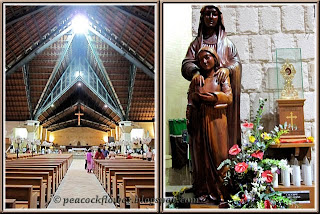 Beautiful interior of St Anne's Church, Bukit Mertajam and statue of St Anne and her daughter, Our Blessed Virgin Mary