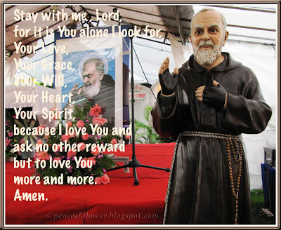 St Pio's portrait and statue at St Pio Spirituality Centre, Ulu Tiram in Johore