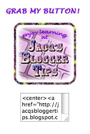 Screenshot promoting my blog button with code text box beneath