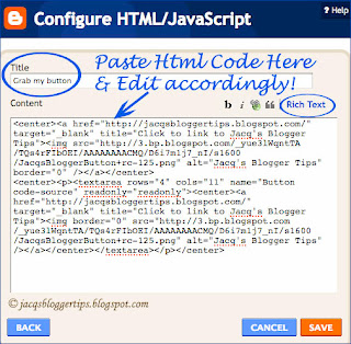 Screenshot to illustrate my blog button's code in the Configure HTML/JavaScript gadget