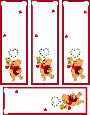marcador libros con winni the pooh para imprimir, San Valentín