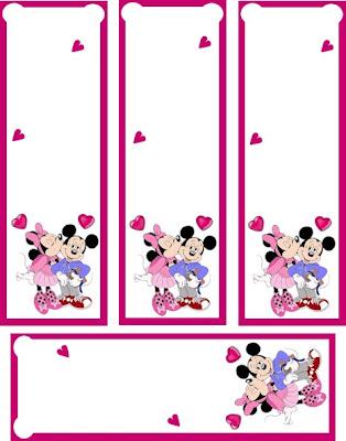 marcador libros con mickie y minnie beso corazón, San Valentín