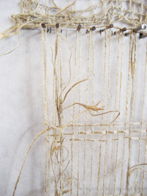Erin Curry art- linen and spanish moss weaving