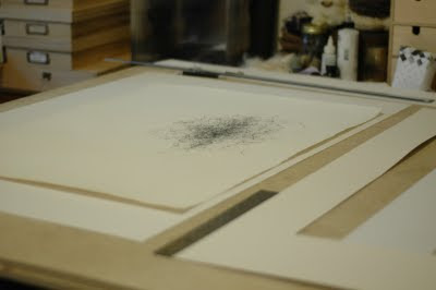Erin Curry spindle drawing framing desk shot