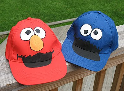 Cookie Monster and Elmo Hats | Crafts by Amanda