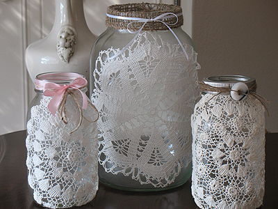 Craft Ideas Doilies on Burlap   Doily Luminaries  Rustic Meets Romance   Crafts By Amanda