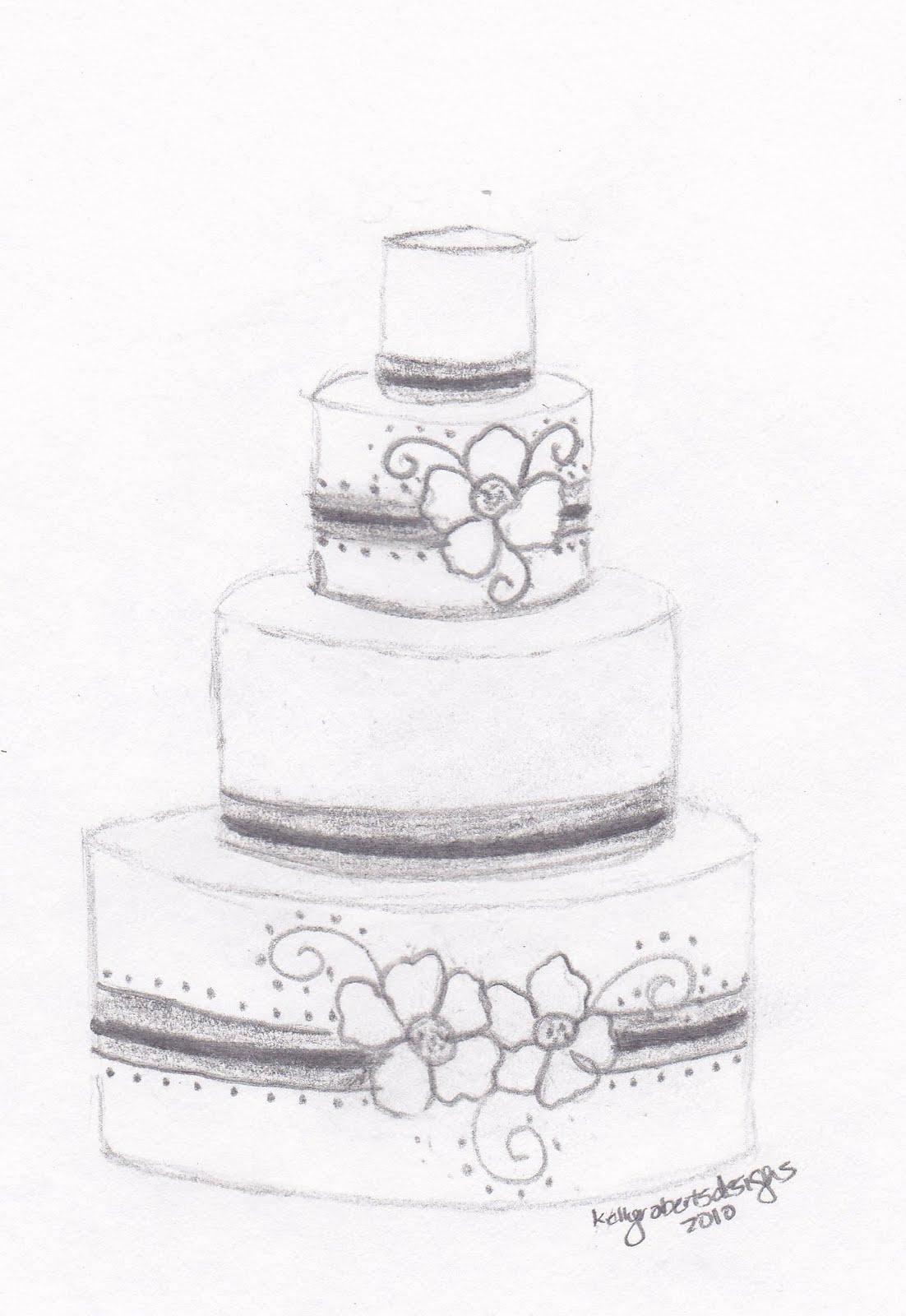 Sketch A Cake Design : Kelly Roberts Designs: Wedding or Celebration Cake Design ...
