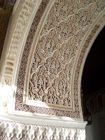 A one-piece carved archway in the Palais de la Bahia