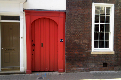 A red door, for Rebecca. She knows why.