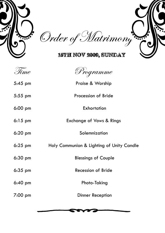 Josh Laboratorie: Wedding Matrimony Program list design