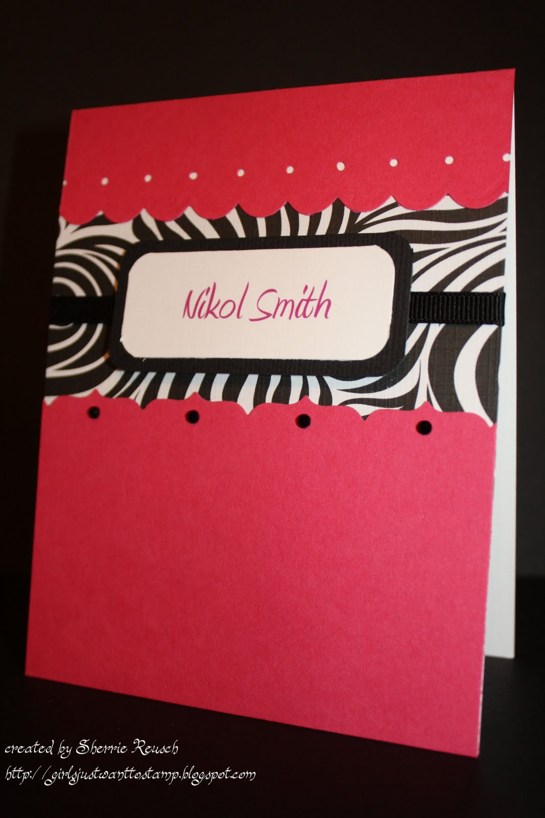 Girls Just Want to Stamp!: Hot Pink and Zebra Personalized ...