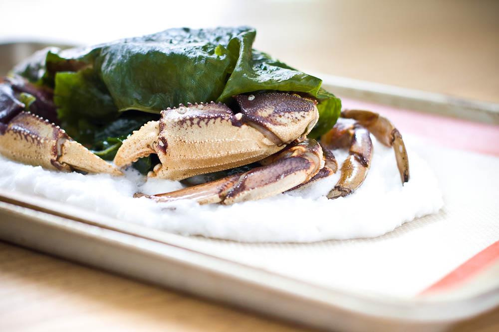 Salt Encrusted Crab, Seaweed Wrap