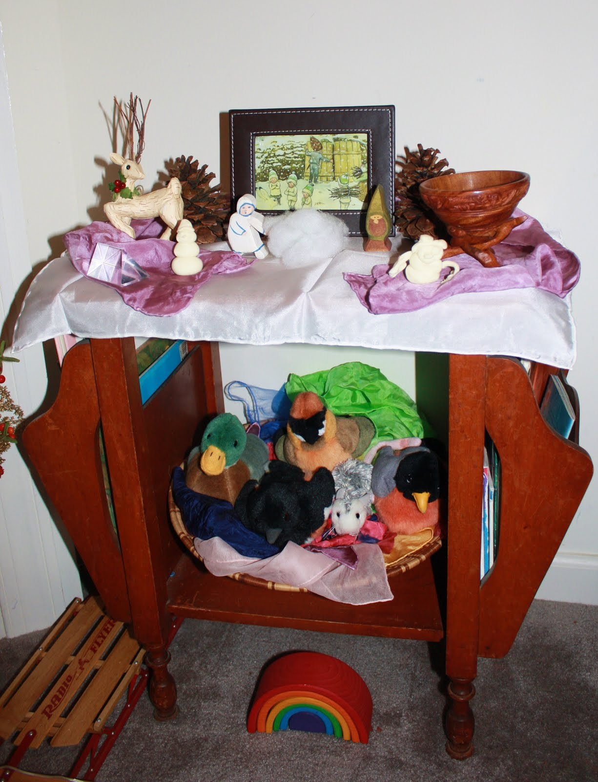 Winter nature table - Our Table Is Actually A Table Magazine Rack On The Bottom Shelf We Keep A Large Woven Basket Full Of Playsilks That Make Up A Nest For Our Plush Singing
