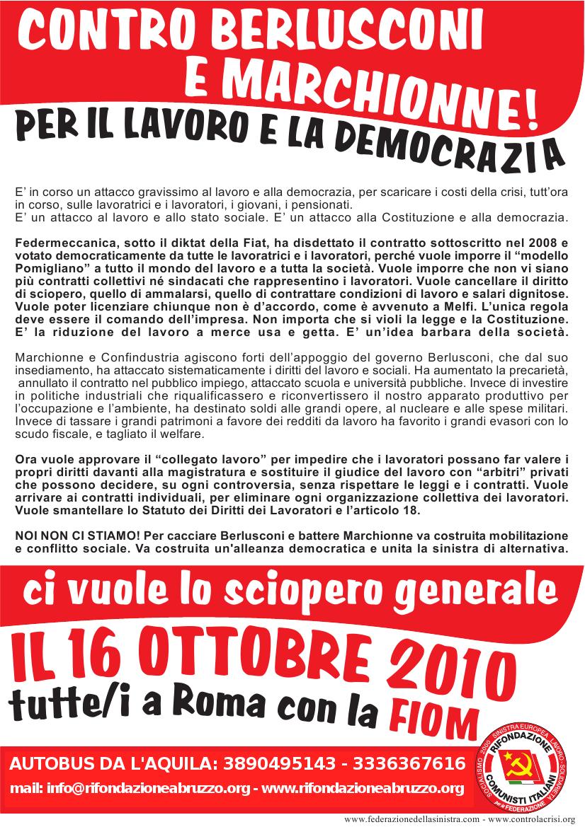 Rifondazione comunista l 39 aquila ottobre 2010 for Volantino acqua e sapone l aquila