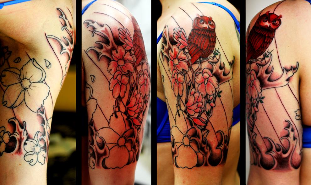 magnolia tree tattoo. Magnolia tree 3rd sitting