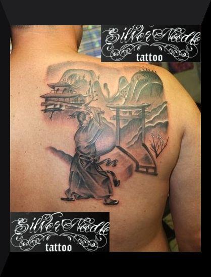 Samurai and japanese landscape tattoo - Tatuaje samurai y paisaje japonés
