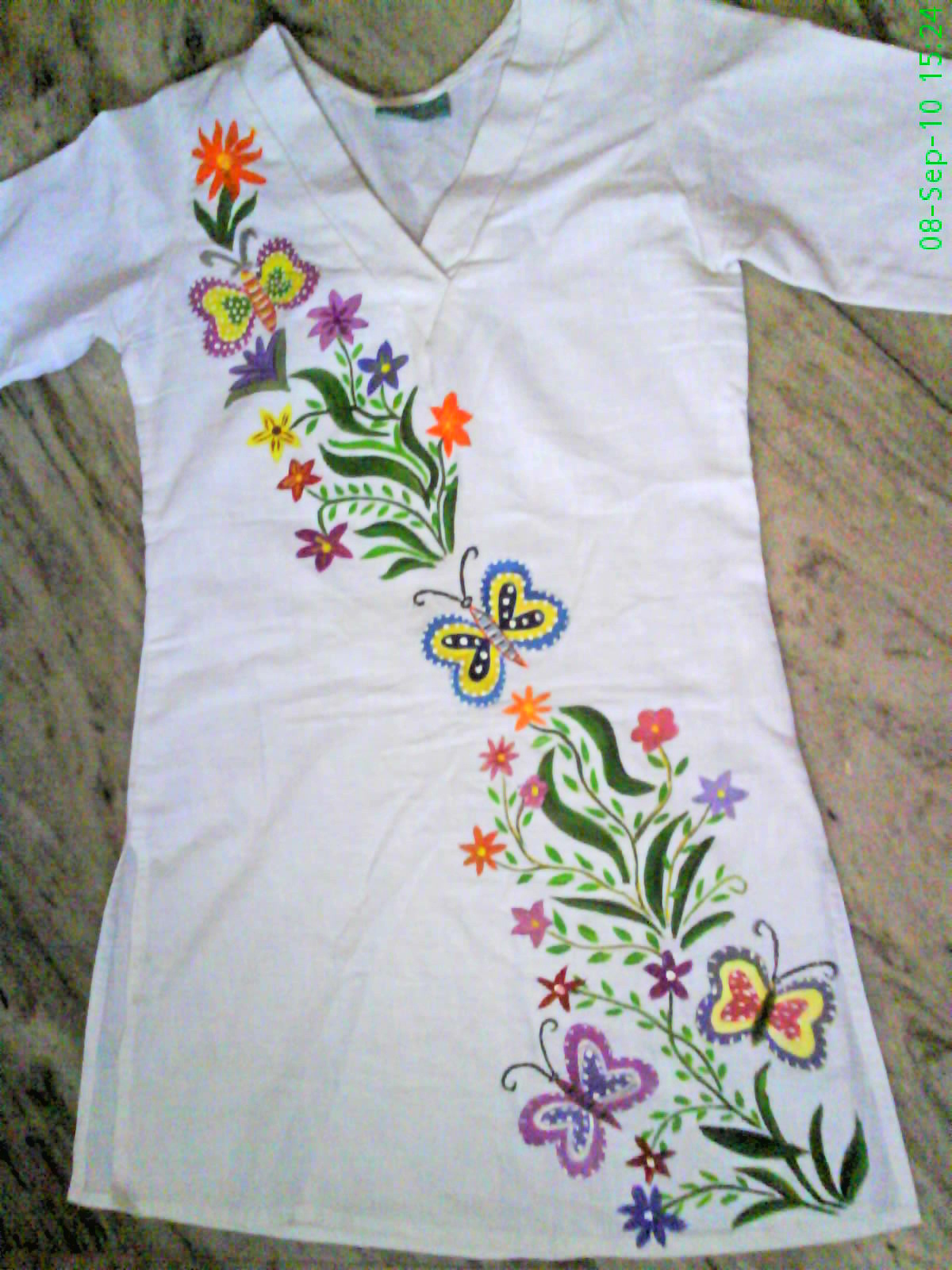 Myriad of memories: Fabric painting for fabric painting designs on white kurtis  150ifm