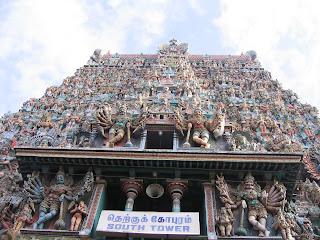 Madurai temple,Meenakshi Amman temple,Meenakshi Amman temple Towers,inner left view of towers,south tower