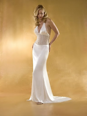 Casual backless wedding dress with halter neck and empire bodice silhouette