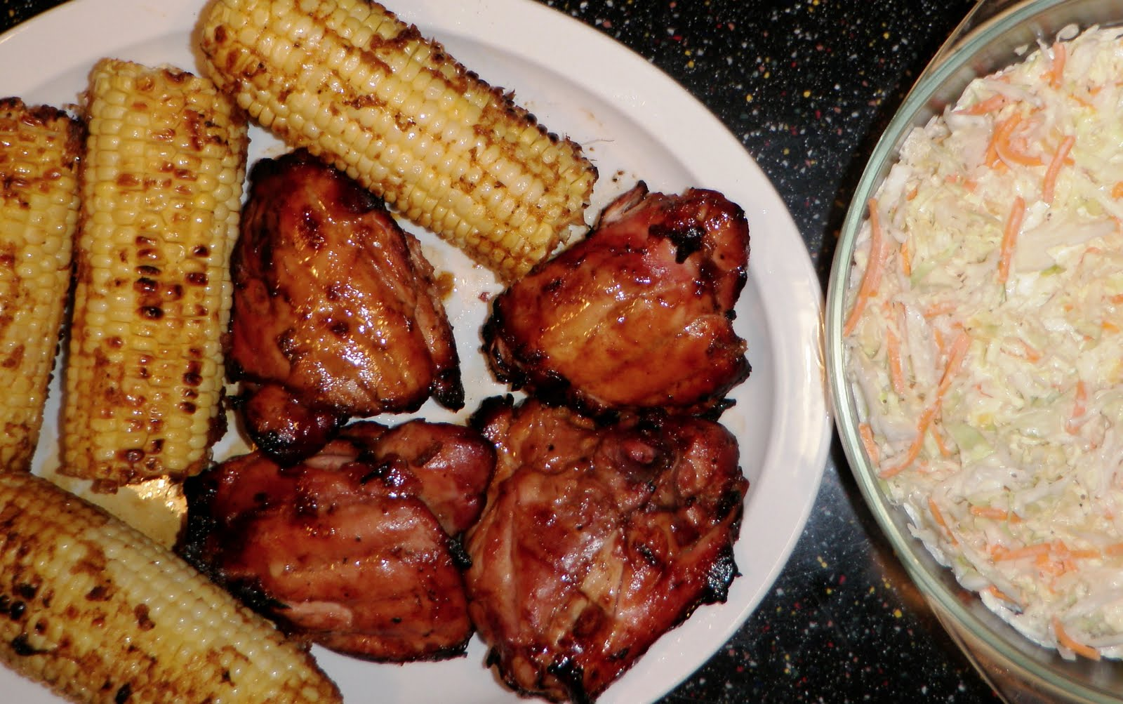 ... : SANDRA'S GRILLED COLA CHICKEN THIGHS with GRILLED CORN and COLESLAW